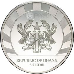 LUNAR SKULLS Goat Chinese Lunar Year 1 Oz Proof Silver Coin 5 Cedis Ghana 2015