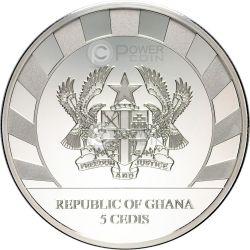 LUNAR SKULLS Goat Teschio Capra Moneta Argento Proof 1 Oz 5 Cedis Ghana 2015