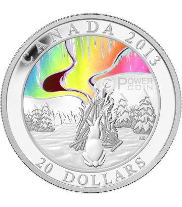 AURORA DEL NORD Nanahboozho Northern Lights Moneta Argento 20$ Canada 2013