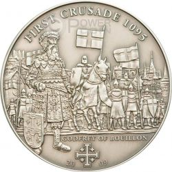 CRUSADE 1 Bouillon Holy Crusades Silver Coin 5$ Cook Islands 2009