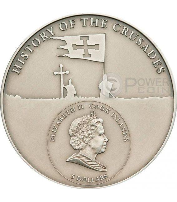 CRUSADE 1 Bouillon Holy Crusades Silver Coin 5$ Cook Islands 2009