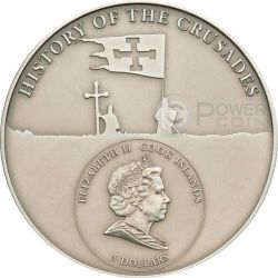 CRUSADE 1 Bouillon Holy Crusades Moneda Plata 5$ Cook Islands 2009