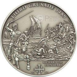 CRUSADE 3 Richard The Lionheart Silber Münze 5$ Cook Islands 2010