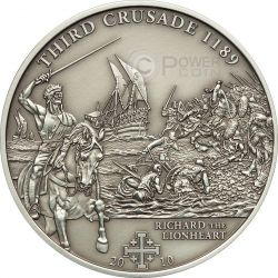 CRUSADE 3 Richard The Lionheart Silver Coin 5$ Cook Islands 2010