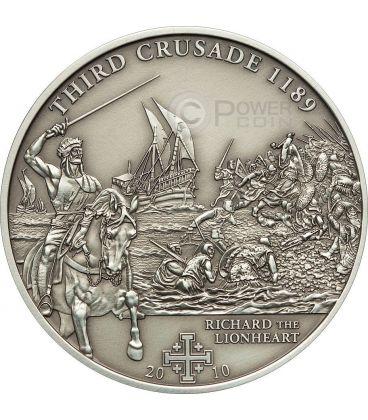 CRUSADE 3 Richard The Lionheart Silver Coin 5$ Cook Islands 2010