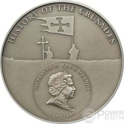 CRUSADE 3 Richard The Lionheart Moneda Plata 5$ Cook Islands 2010