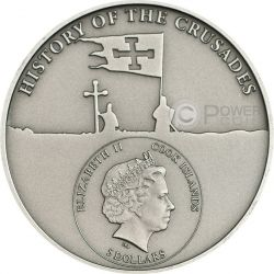 CRUSADE 6 Frederick II Silber Münze 5$ Cook Islands 2014