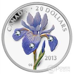 BLUE FLAG IRIS Blu Moneta Argento Swarovski 20$ Canada 2013