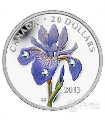 BLUE FLAG IRIS Swarovski Crystal Silver Coin 20$ Canada 2013