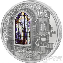 WINDOWS OF HEAVEN CRACOW Krakow Saint Francis Basilica Silver Coin 10$ Cook Islands 2012