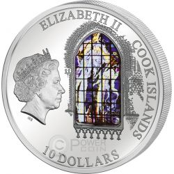 WINDOWS OF HEAVEN CRACOW Krakow Saint Francis Basilica Silver Coin 10$ Cook Islands 2012