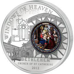 WINDOWS OF HEAVEN BETHLEHEM Church Saint Catherine Серебро Монета 10$ Острова Кука 2012