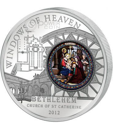 WINDOWS OF HEAVEN BETHLEHEM Church Saint Catherine Silver Coin 10$ Cook Islands 2012
