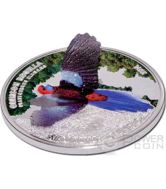 CRIMSON ROSELLA 3D World Of Parrots Moneda Plata 5$ Cook Islands 2014