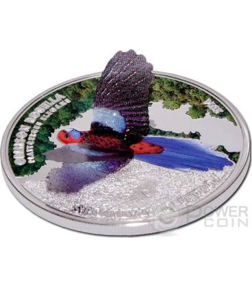 CRIMSON ROSELLA 3D World Of Parrots Silver Coin 5$ Cook Islands 2014