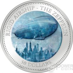 ZEPPELIN 175th Anniversary Airship Hindenburg Mother of Pearl 5 Oz Moneda Plata 50$ Cook Islands 2013