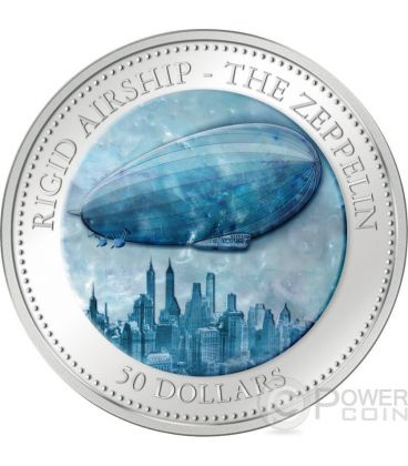 ZEPPELIN 175th Anniversary Airship Hindenburg Mother of Pearl 5 Oz Silver Coin 50$ Cook Islands 2013