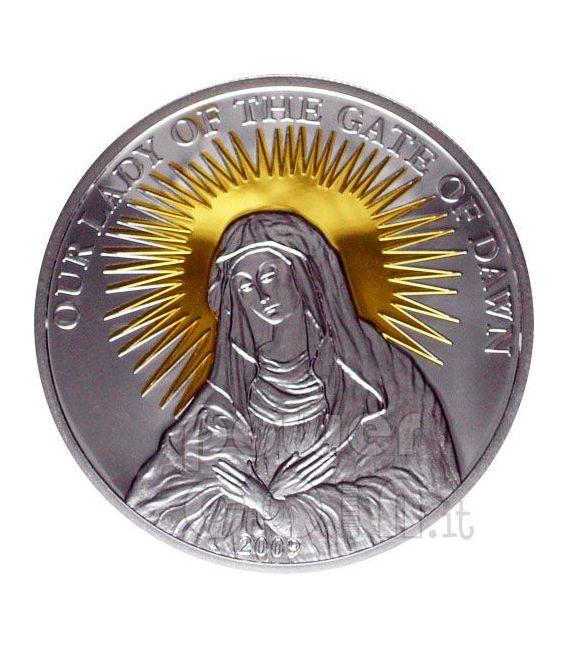 OUR LADY OF THE GATE OF DAWN Серебро Монета 5$ Палау 2009