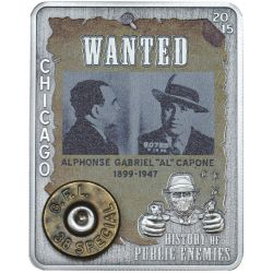 AL CAPONE Rim Revolver Round History of Public Enemies Silber Münze 1000 Francs Central African Republic 2015