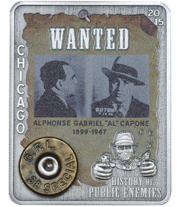 AL CAPONE Fondello Cartuccia Revolver History of Public Enemies Moneta Argento 1000 Franchi Repubblica Centrale Africana 2015