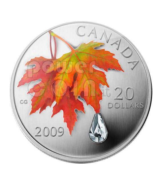 RAINDROP Crystal Swarovski Silver Coin 20$ Canada 2009