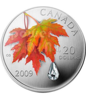 RAINDROP Goccia Di Cristallo Swarovski Moneta Argento 20$ Canada 2009