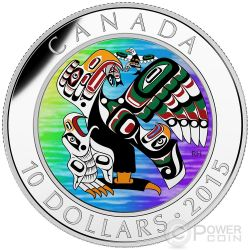 MOTHER FEEDING BABY First Nations Art Silver Coin 10$ Canada 2015