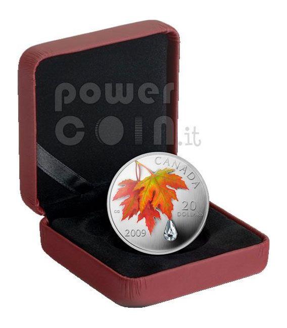 RAINDROP Crystal Swarovski Moneda Plata 20$ Canada 2009