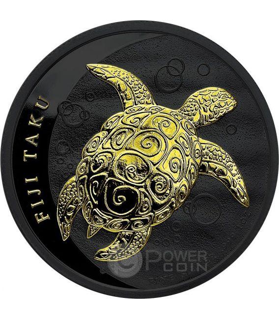 TAKU TURTLE Hawksbill Tartaruga Nera Oro Rutenio Moneta Argento 2$ Fiji 2012