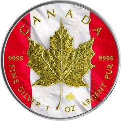 MAPLE LEAF Gold Flag 1 Oz Silver Coin 5$ Canada 2014