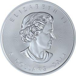 MAPLE LEAF Foglia Oro Bandiera Moneta Argento 5$ Canada 2014
