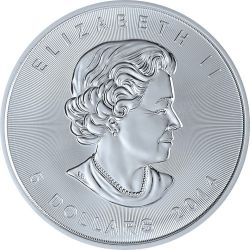 MAPLE LEAF Oro Flag 1 Oz Moneda Plata 5$ Canada 2014