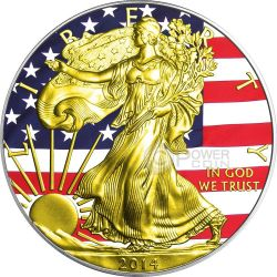UNION American Civil War Gold Walking Liberty Flag 1 Oz Silver Coin 1$ US Mint 2014