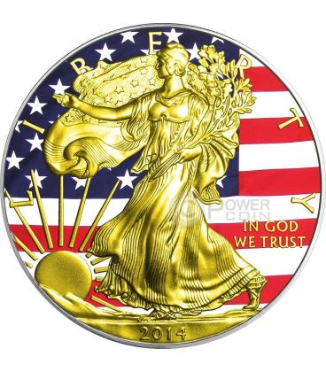 UNION Guerra Civile Americana Walking Liberty Oro Bandiera Moneta Argento 1$ US Mint 2014