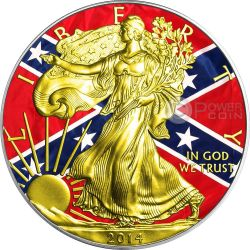 CONFEDERACY Guerra Civile Americana Walking Liberty Oro Bandiera Moneta Argento 1$ US Mint 2014