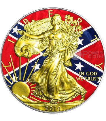 CONFEDERACY Guerra Civile Americana Walking Liberty Oro Bandiera Moneta Argento 1$ US Mint 2014