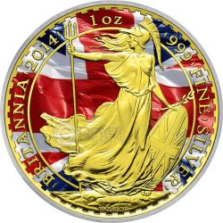 PATRIOTIC BRITANNIA Gold Flag 1 Oz Silver Coin 2£ United Kingdom 2014