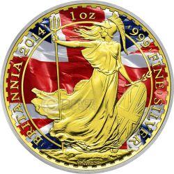 PATRIOTIC BRITANNIA Oro Bandiera Moneta Argento 2£ Regno Unito 2014
