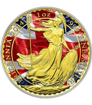 PATRIOTIC BRITANNIA Gold Flag 1 Oz Silver Coin 2£ United Kingdom 2014