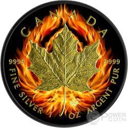 BURNING MAPLE LEAF Foglia Fuoco Nera Rutenio Moneta Argento 5$ Canada 2015