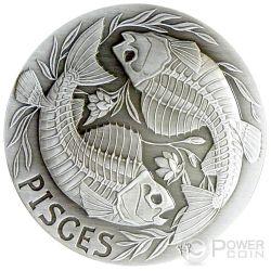 PISCES Memento Mori Zodiac Skull Horoscope Moneda Plata 2015