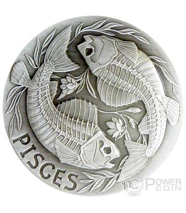 PISCES Memento Mori Zodiac Skull Horoscope Silver Coin 2015
