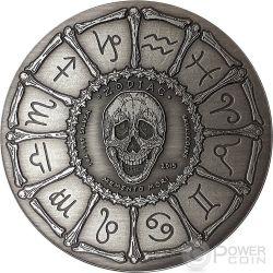 PISCES Memento Mori Zodiac Skull Horoscope Серебро Монета 2015