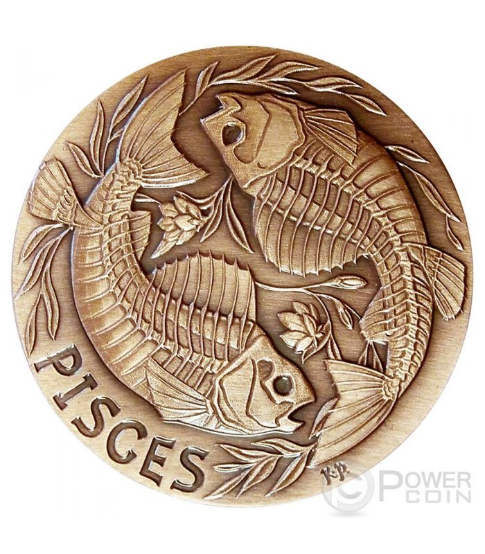 Copper Round Coin  YIN PISCES   sign of the ZODIAC  1 oz YANG