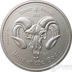 LUNAR SKULLS Goat Chinese Lunar Year 1 Oz BU Moneda Plata 5 Cedis Ghana 2015