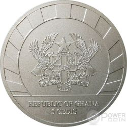 LUNAR SKULLS Goat Chinese Lunar Year 1 Oz BU Silver Coin 5 Cedis Ghana 2015