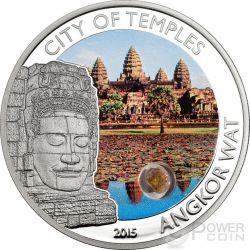 ANGKOR WAT Tempio Citta Arenaria Cambogia Moneta Argento 5$ Cook Islands 2015