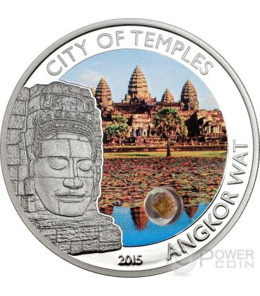 ANGKOR WAT City Of Temples Sandstone Cambodia Silver Coin 5$ Cook Islands 2015