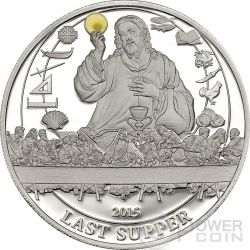 LAST SUPPER Biblical Stories Silver Coin 2$ Palau 2015