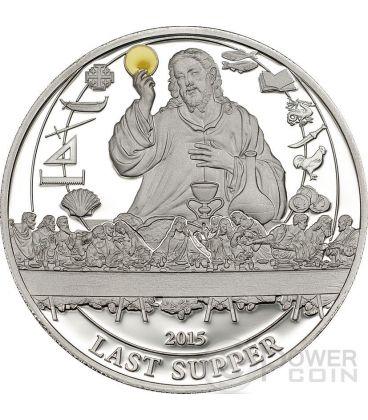 LAST SUPPER Biblical Stories Silver Coin 2$ Palau 2015